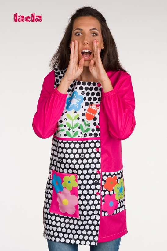 POLKA-DOTS AND FLOWERS SCHOOL SMOCK