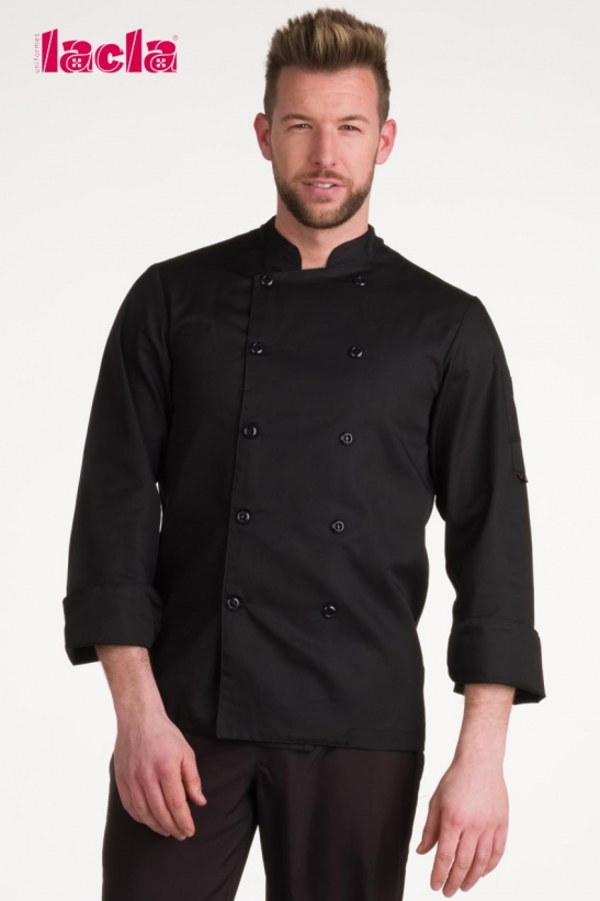 BLACK DRY BACK TWILL CHEF'S COAT